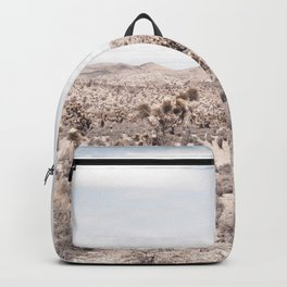 Cactus Landscape // Photograph of Desert Plains Cloudy Sky Tan and Yellow Backpack