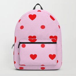 Pink & Red Heart Polka Dot Print Backpack