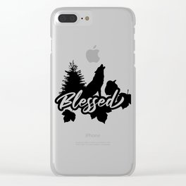 Blessed Thanksgiving Nature Wolf Autumn Clear iPhone Case