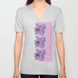 TROPICAL PURPLE CATTLEYA ORCHIDS WHITE-PINK ART Unisex V-Neck