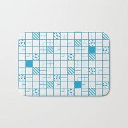 Boxes Blue Pattern Bath Mat