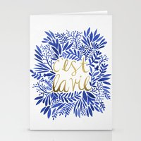 waldo Stationery Cards featuring That's Life – Gold & Blue by Cat Coquillette