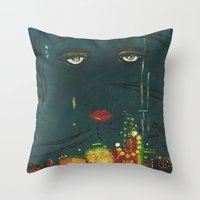 the great gatsby Throw Pillows featuring Gatsby by Julia Lopez