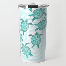 Watercolor Teal Sea Turtles on Swirly Stripes Travel Mug