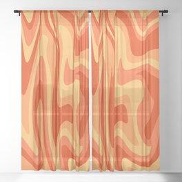 Mid Century Modern Liquid Fire Abstract // Red, Orange, Mustard Yellow Sheer Curtain