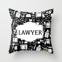 lawyer Throw Pillows featuring BLACK LAWYER by Be Raza