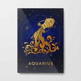 Zodiac golden sign — Aquarius Metal Print