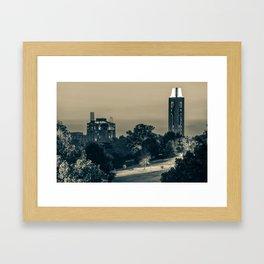 KU Campanile and The Oread Hotel - Lawrence Kansas Sepia Framed Art Print