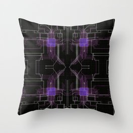 Circuit board purple repeat Throw Pillow