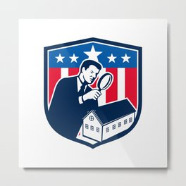 American School Inspector  USA Flag Icon Retro Metal Print