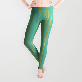 Golden and Turquoise Stripes Pattern Leggings