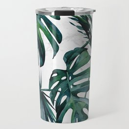 Tropical Palm Leaves Classic on Marble Travel Mug