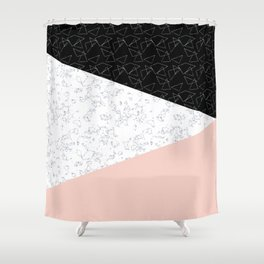Patchwork pink and marble Shower Curtain