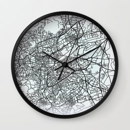 Clermont-Ferrand, France, White, City, Map Wall Clock