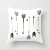 craftberrybush Throw Pillows featuring Watercolor fall arrows  by craftberrybush