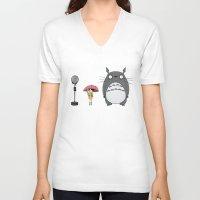tim burton V-neck T-shirts featuring Tim Burton Totoro by Grace Isabel