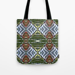 Royal Poinciana Fronds Diamond OP Pattern Tote Bag