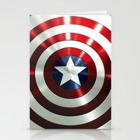 steve rogers Stationery Cards featuring Captain Steve Rogers Shields  by neutrone
