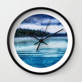 Blue Tranquil Lake Scenery Circle Wall Clock