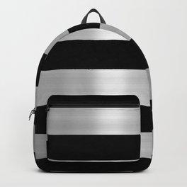 Black & Silver Metallic Stripes Backpack