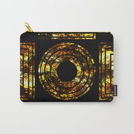 Golden Shapes - Abstract, black and gold, geometric, metallic textured artwork Carry-All Pouch