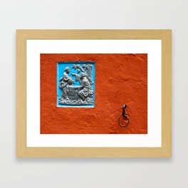 Ochre and blue Framed Art Print