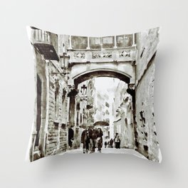 Carrer del Bisbe - Barcelona Black and White Throw Pillow