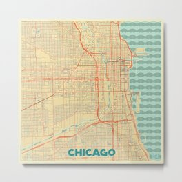 Chicago Map Retro Metal Print
