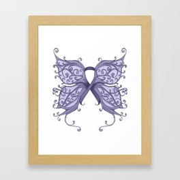 Periwinkle Cancer Ribbon with Butterfly Wings Framed Art Print