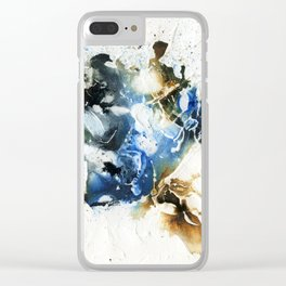 Brown and blue abstract Clear iPhone Case