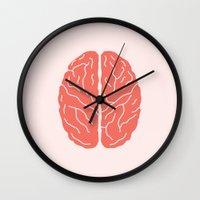 brain Wall Clocks featuring Brain by Yellow Chair Design