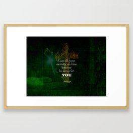 1 Peter 5:7 Uplifting Bible Verses Quote Framed Art Print