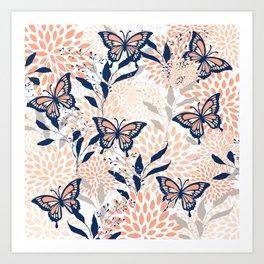 Floral, Butterflies Print, Coral, Navy Bue, Gray Art Print