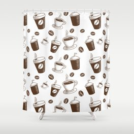 Modern Coffee Patern Shower Curtain
