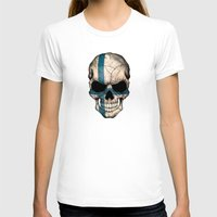 finland T-shirts featuring Dark Skull with Flag of Finland by Jeff Bartels