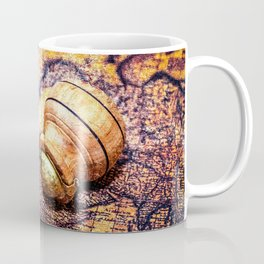 Vintage Wooden Pipe And A Looking Glass On An Old Map Coffee Mug