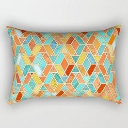 Tangerine & Turquoise Geometric Tile Pattern Rectangular Pillow