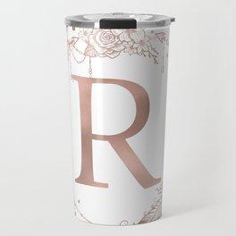 Letter R Rose Gold Pink Initial Monogram Travel Mug