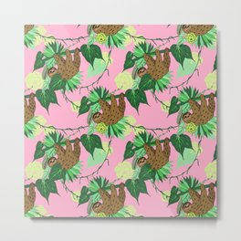 Sloth - Green on Pink Metal Print