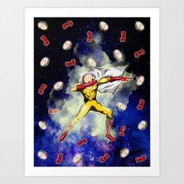 Saitama Power Dab in Space Art Print