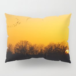 Sunset and cranes natural landscape from France Pillow Sham