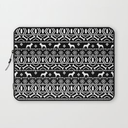 Boston Terrier fair isle dog pattern silhouette christmas sweater black and white Laptop Sleeve