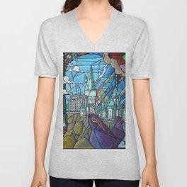 Hogwarts stained glass style Unisex V-Neck