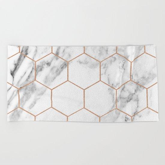 Rose gold marble hexagons honeycomb pattern Beach Towel