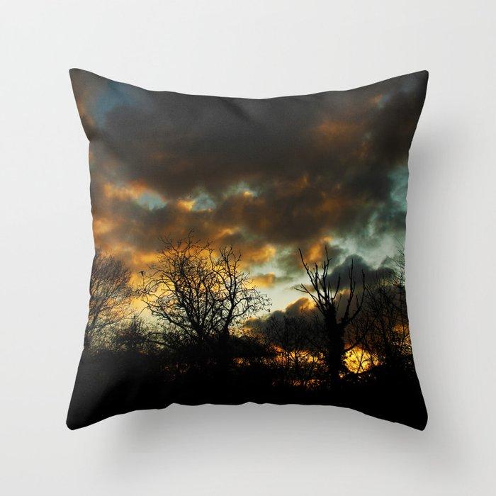 Moody Sunset Throw Pillow