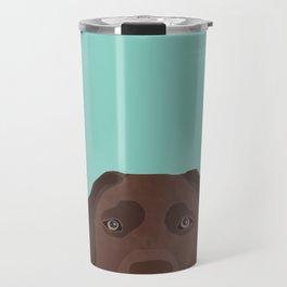 Chocolate Lab dog breed portrait pet art dog lover gifts labrador retriever Travel Mug