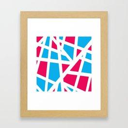 Abstract Interstate  Roadways Aqua Blue & Hot Pink Color Framed Art Print
