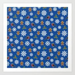 Winter Robin Holly Gingerbread Man Snowflakes Pattern Blue Art Print