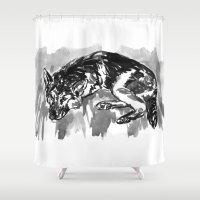 german shepherd Shower Curtains featuring German shepherd -2 by Jenn Steffey