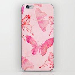 Pink pastel Butterflies allover pattern iPhone Skin